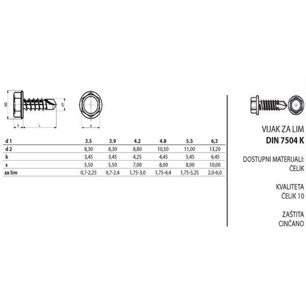 Vijak za lim 6.3x60 DIN 7504 K,300 kom. (LIM 6.3x60)