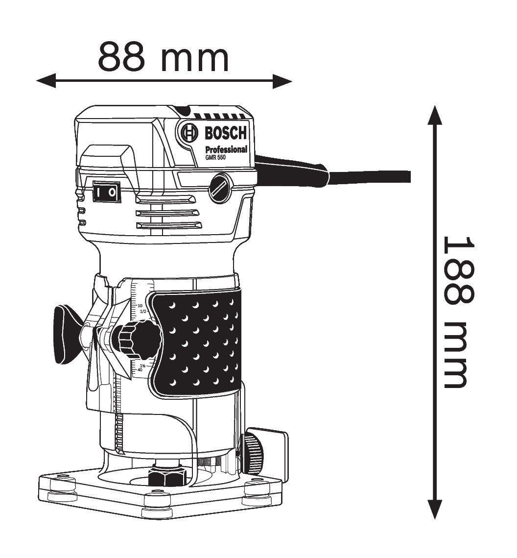 Jednoručna glodalica za ivice Bosch GKF 550, 550W (06016A0020A1)